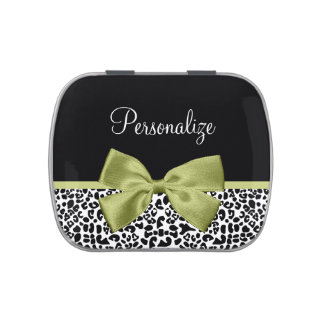 Pretty Leopard Print Spring Green Bow With Name Jelly Belly Candy Tins