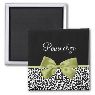 Pretty Leopard Print Spring Green Bow With Name Magnet