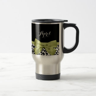 Pretty Leopard Print Spring Green Bow With Name Travel Mug