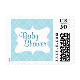 Pretty Light Blue Plaid Custom Stamp