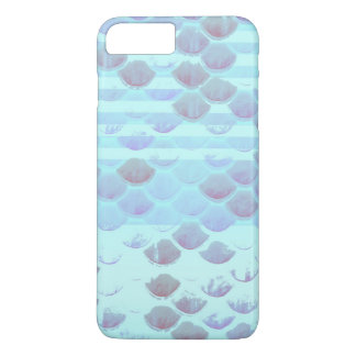 Pretty Light Blue Striped Mermaid Fish Scales iPhone 7 Plus Case