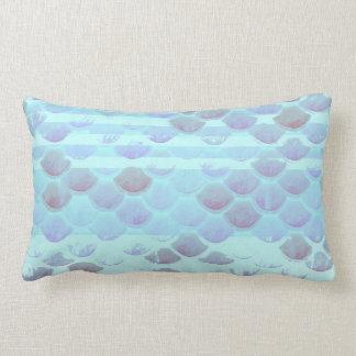 Pretty Light Blue Striped Mermaid Fish Scales Lumbar Pillow
