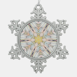 Pretty Light Classy Chic Abstract Snowflake Pewter Christmas Ornament