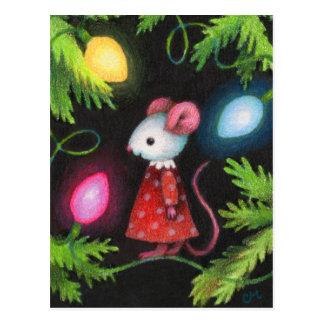 Pretty Lights - Cute Christmas Tree Mouse Art Postcard