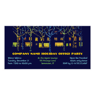 Pretty Lights Holiday Office Party Photo Card
