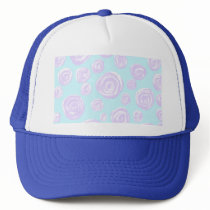 Pretty Lilac and Turquoise Floral Pattern. Trucker Hat