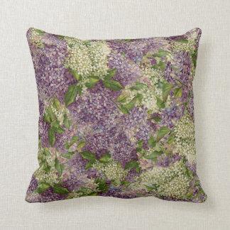 Pretty Lilac Striped Modern Vintage Floral Pattern Throw Pillow