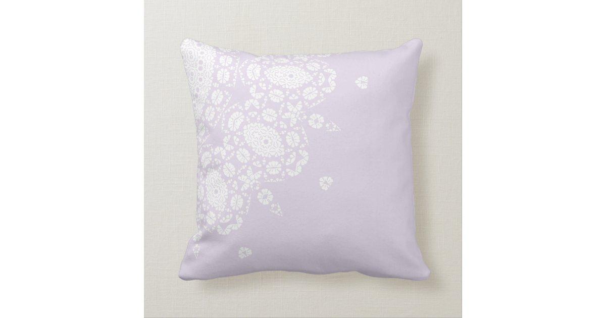White Lace Throw Pillow : Pretty Lilac White Lace Pattern Throw Pillow Zazzle