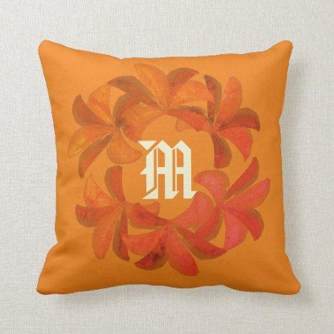 Pretty  Lilies Wreath Monogrammed Pillow