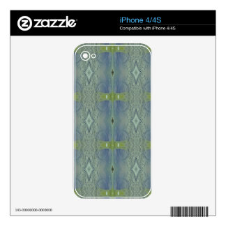 Pretty Lime Blue Artistic Pattern Decals For iPhone 4