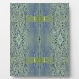 Pretty Lime Blue Artistic Pattern Plaque