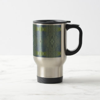 Pretty Lime Blue Artistic Pattern Travel Mug