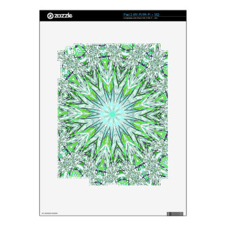 Pretty Lime Green Snowflake Shaped Mandala Decals For iPad 2