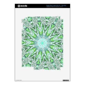 Pretty Lime Green Snowflake Shaped Mandala iPad 3 Decal