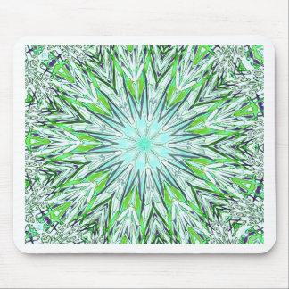 Pretty Lime Green Snowflake Shaped Mandala Mouse Pad