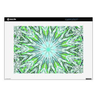 Pretty Lime Green Snowflake Shaped Mandala Skin For Laptop
