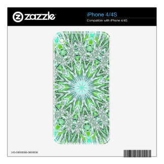 Pretty Lime Green Snowflake Shaped Mandala Skins For iPhone 4