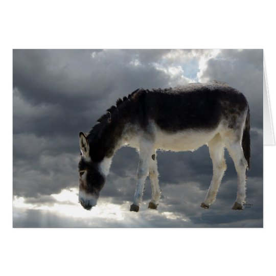 Pretty Little Burro Clouds Heaven - Pet Sympathy Card