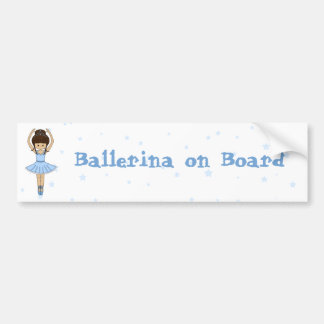 Pretty Little Cartoon Ballerina Girl in Blue Bumper Sticker