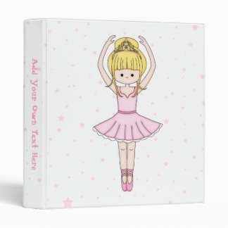 Pretty Little Cartoon Ballerina Girl in Pink 3 Ring Binder