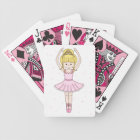 Pretty Little Cartoon Ballerina Girl in Pink Bicycle Playing Cards