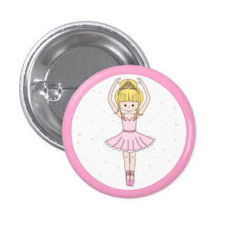 Pretty Little Cartoon Ballerina Girl in Pink Pin