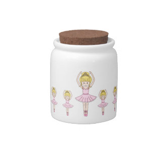 Pretty Little Cartoon Ballerina Girl in Pink Candy Dishes