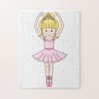 Pretty Little Cartoon Ballerina Girl in Pink Jigsaw Puzzle