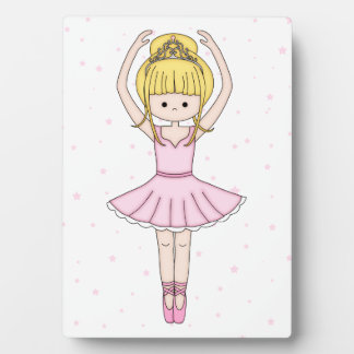 Pretty Little Cartoon Ballerina Girl in Pink Plaque