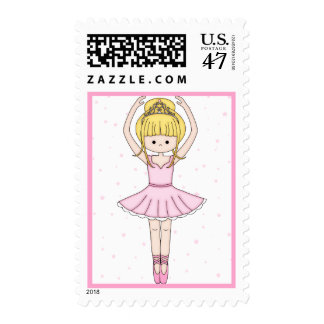 Pretty Little Cartoon Ballerina Girl in Pink Postage