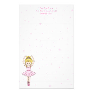 Pretty Little Cartoon Ballerina Girl in Pink Stationery
