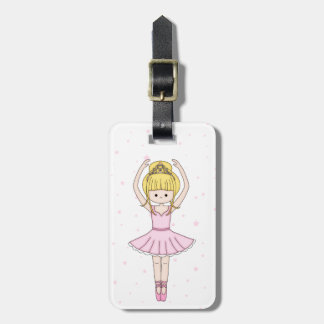 Pretty Little Cartoon Ballerina Girl in Pink Tag For Luggage