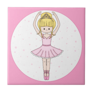 Pretty Little Cartoon Ballerina Girl in Pink Small Square Tile