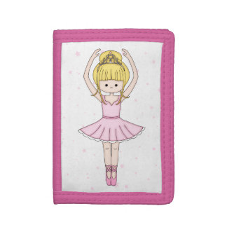 Pretty Little Cartoon Ballerina Girl in Pink Tri-fold Wallet