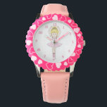 """Pretty Little Cartoon Ballerina Girl in Pink Wrist Watch<br><div class=""""desc"""">This cute design features an adorable ballerina cartoon girl. The little ballet dancer character has blonde hair and is wearing a pale pink frilled tutu and pink pumps, and has a tiara with a sparkling gemstone upon her head. This is a fun, feminine design for all young girls who love...</div>"""