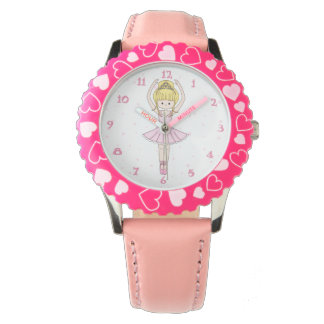 Pretty Little Cartoon Ballerina Girl in Pink Wrist Watch