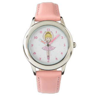 Pretty Little Cartoon Ballerina Girl in Pink Wristwatch