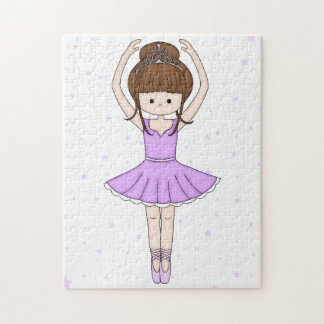 Pretty Little Cartoon Ballerina Girl in Purple Jigsaw Puzzle