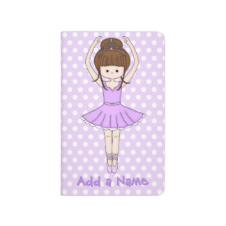 Pretty Little Cartoon Ballerina Girl in Purple Journal