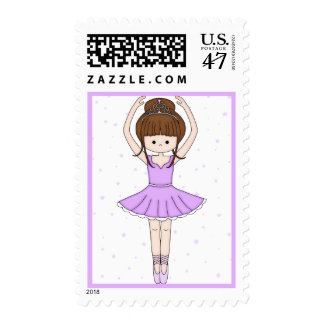 Pretty Little Cartoon Ballerina Girl in Purple Postage