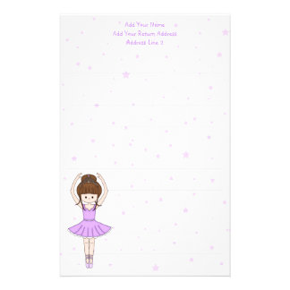 Pretty Little Cartoon Ballerina Girl in Purple Stationery
