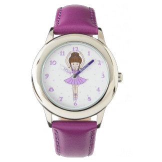Pretty Little Cartoon Ballerina Girl in Purple Wristwatch