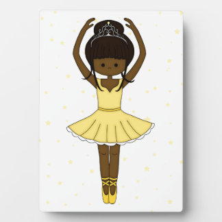 Pretty Little Cartoon Ballerina Girl in Yellow Plaque