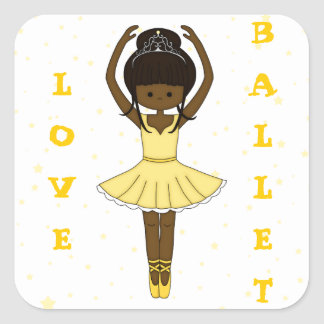 Pretty Little Cartoon Ballerina Girl in Yellow Square Sticker
