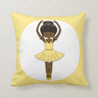Pretty Little Cartoon Ballerina Girl in Yellow Throw Pillow