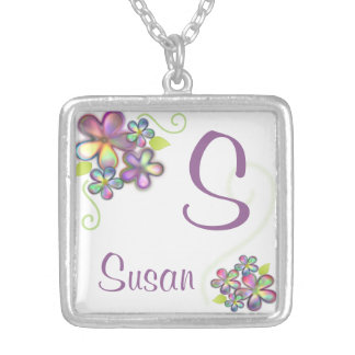 Pretty Little Flowers with Custom Name Pendants