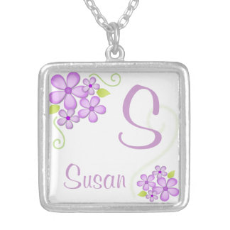 Pretty Little Flowers with Custom Name Silver Plated Necklace