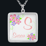 "Pretty Little Flowers with Custom Name Silver Plated Necklace<br><div class=""desc"">Customize this pretty floral design with Initial and name,  makes a wonderful gift</div>"
