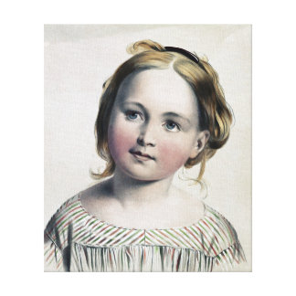Pretty Little Girl Vintage Painting Canvas Print