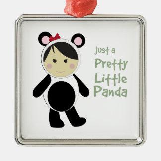 Pretty Little Panda Square Metal Christmas Ornament